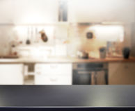 Table Top And Blur Kitchen Room of Background. Table Top And Blur Kitchen Room of The  Background Stock Photography