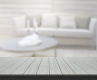 Table Top And Blur Living Room Of Background Royalty Free Stock Image