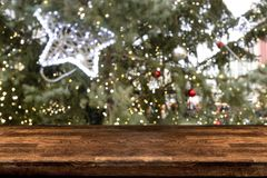 Table top with Blurred abstract background of Christmas market royalty free stock photo