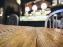 Table top with Blurred Bar Restaurant background Stock Image