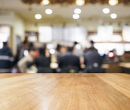 Table top with blurred people Bar interior background Stock Photo
