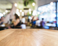 Table top with Blurred People Cafe Shop interior background Stock Image