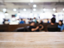 Table top with Blurred People Cafe Shop interior background Stock Images