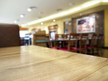 Table top with Blurred Restaurant interior  Background Stock Images