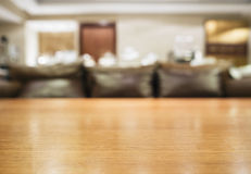 Table top with Blurred sofa Home interior decoration Royalty Free Stock Photography