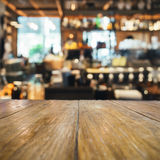 Table top counter with Blurred bar background Stock Image