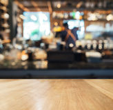 Table top counter with Blurred bar restaurant background Stock Images