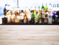 Table top counter Blurred Bar restaurant background Royalty Free Stock Photo