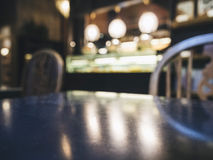 Table top counter with Blurred Bar restaurant background Royalty Free Stock Images