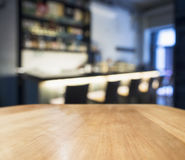 Table top counter Blurred Bar restaurant background Royalty Free Stock Image
