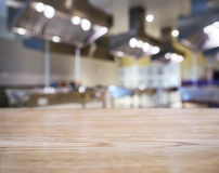 Table top Counter Blurred Kitchen background Stock Images