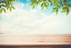 Table top, desk of empty space blue sky with leaves on top. Table top, desk of empty space blue sky with leaves on top, can be used for display your products royalty free stock photo