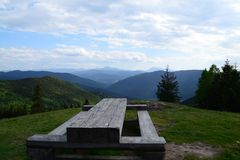 A table on the top of the mountain Royalty Free Stock Photo