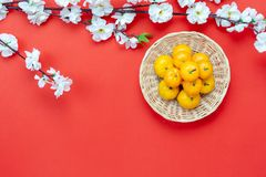 Shot of arrangement decoration Chinese new year & lunar new year holiday background concept. Table top view of accessories on Lunar New Year & Chinese New Year
