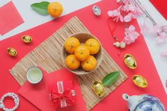 Table top view aerial of accessories and Chinese new year and Lunar new year festival concept background. Stock Photo