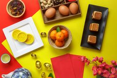 Table top view aerial image of accessories and Chinese new year and Lunar new year festival. Concept background.Mix variety object for the season.Difference royalty free stock photography