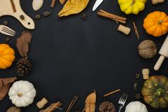 Table top view aerial image of decoration Happy Halloween or Thanksgiving day royalty free stock image