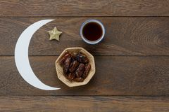 Table top view aerial image of decoration Ramadan Kareem holiday stock photos