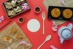 Table top view aerial image of decorations Chinese Moon Festival or lunar new year. Background concept.Flat lay essential meal set for coffee break of sweet royalty free stock photos
