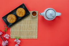 Table top view aerial image of decorations Chinese Moon Festival or lunar new year. Background concept.Flat lay essential meal set for coffee break of sweet stock image