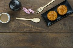 Table top view aerial image of decorations Chinese Moon Festival or lunar new year. Background concept. Flat lay essential meal set for coffee break of sweet royalty free stock photos