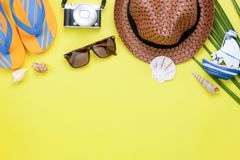 Table top view aerial image of fashion to travel in summer holiday background. Stock Images