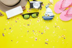 Table top view aerial image of fashion to travel in summer holiday background. Stock Photos