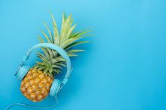 Table top view aerial image of food for summer holiday season & music Royalty Free Stock Photography