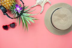 Table top view aerial image of food for summer holiday season & music background Stock Photography