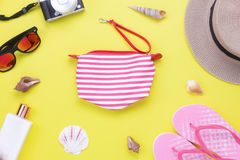 Table top view aerial image of items to travel summer holiday background concept stock photography