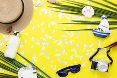 Table top view aerial image of summer & travel beach holiday in the season Royalty Free Stock Images
