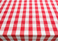 Table top view covered by red gingham tablecloth Stock Images
