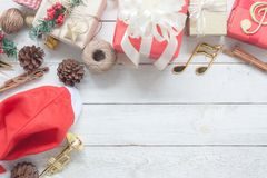 Table top view image of decorations Merry Christmas & Happy New Year background concept. Royalty Free Stock Image