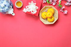 Table top view image shot of decoration Chinese new year & lunar holiday background Stock Image