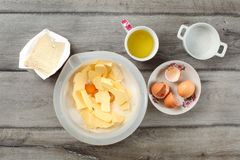 Table top view on ingredients for cake preparation. Sack of flo stock photos