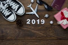 Table top view of Merry Christmas decorations & Happy new year 2019 ornaments concept. royalty free stock photo