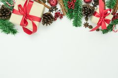 Table top view of Merry Christmas decorations & Happy new year ornaments concept. stock photography