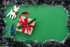 Table top view of Merry Christmas decorations & Happy new year ornaments concept. stock photo