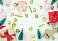 Table top view of Merry Christmas decorations & Happy new year 2019 ornaments concept. stock images