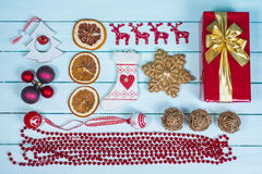 Table top view over  Christmas  items on wood Stock Image