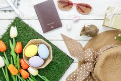 Table top view shot of decoration Happy Easter holiday background stock photography