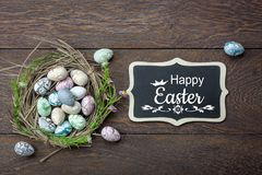 Table top view shot of decoration Happy Easter holiday Royalty Free Stock Photography