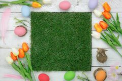 Free Table Top View Shot Of Decorations Happy Easter Stock Photos - 109664483