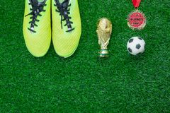 Table top view of soccer or football world cup season background. royalty free stock images