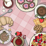 Table top viewed from the top, with tea Stock Images