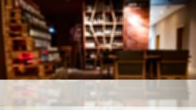 Free Table Top With Blurred Dark Bar Background. Space For Advertising Products. Copy Space With Restaurant View In Distance. Stock Photography - 161295032