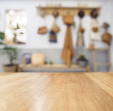 Table top Wooden counter Blurred Kitchen Background Stock Image