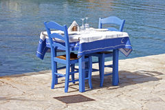 A table of the traditional Greek tavern Royalty Free Stock Image