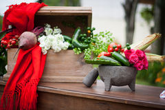 Table with traditional mexican vegetables and molcajete Royalty Free Stock Photography