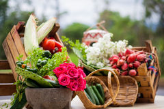 Table with traditional mexican vegetables and molcajete Royalty Free Stock Images